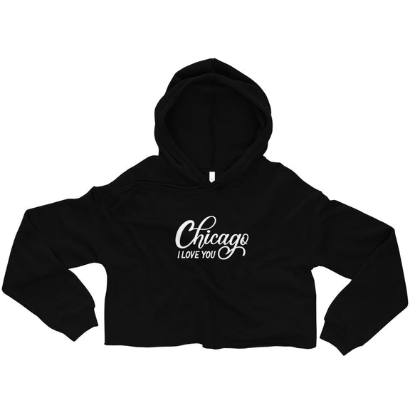 Black Chicago I Love You Crop Hoodie