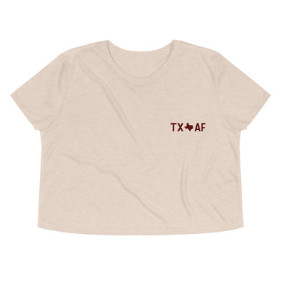 Texas AF Embroidered Crop Tee