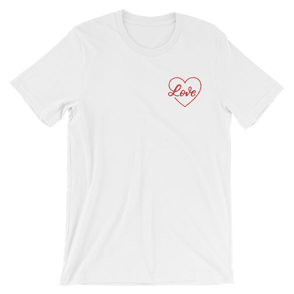 Love Embroidered Red Design T-Shirt in White