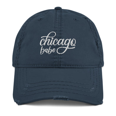 Navy Chicago Babe Distressed Hat