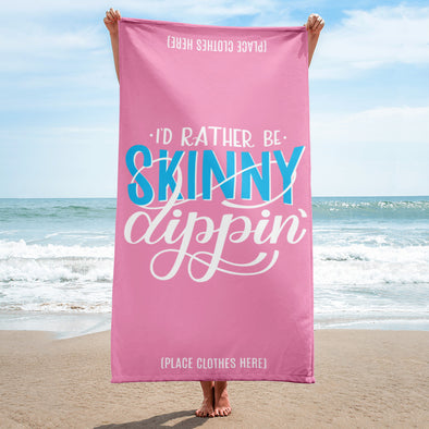 I'd Rather Be Skinny Dipping Hand lettered Beach Towel in Pink
