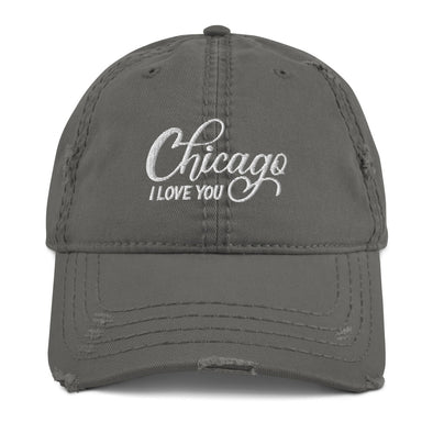 Grey Chicago I Love You Distressed Hat
