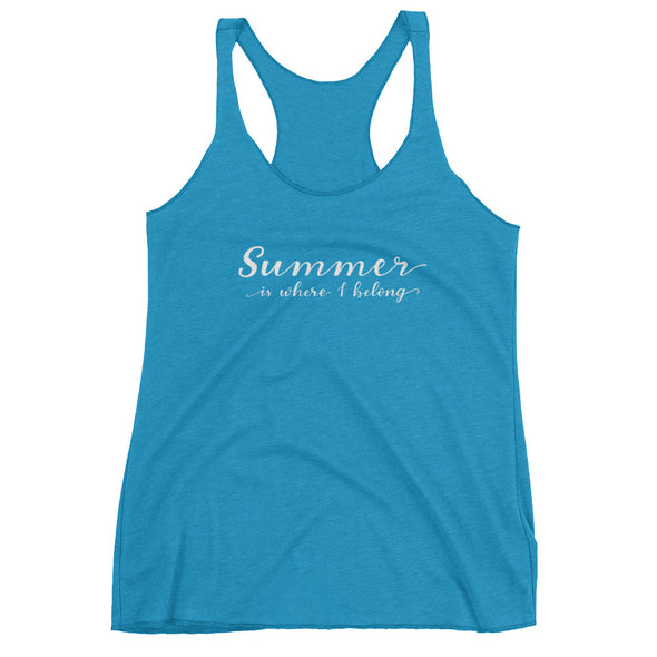 Summer Is Where I Belong Tank Top in Aqua