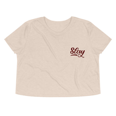Cream Slay Embroidered Pocket Crop Top