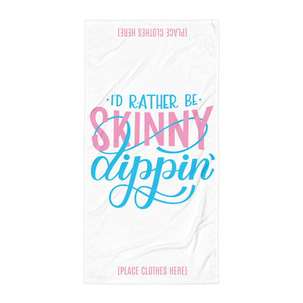 I'd Rather Be Skinny Dipping Hand lettered Beach Towel in White