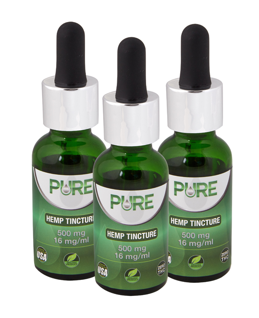 500mg Pure Hemp Tincture 3-Pack