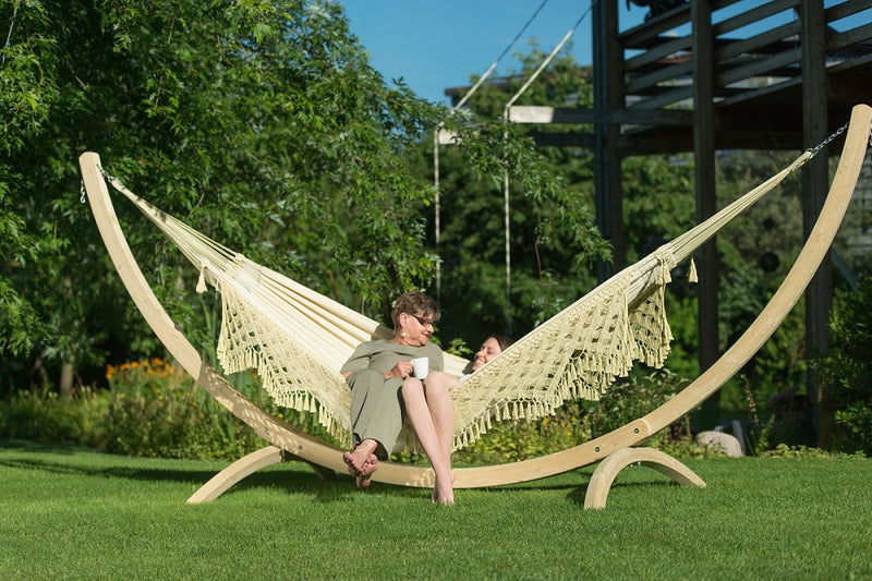 Wooden Hammock Stand and White Hammock