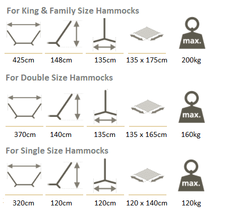 Wooden Hammock Stand Dimensions By Size