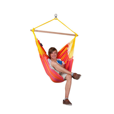 Red and yellow single chair hammock
