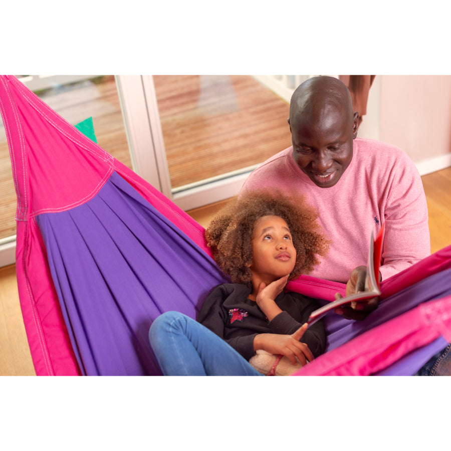 Child and Parent Enjoying Hammock Time