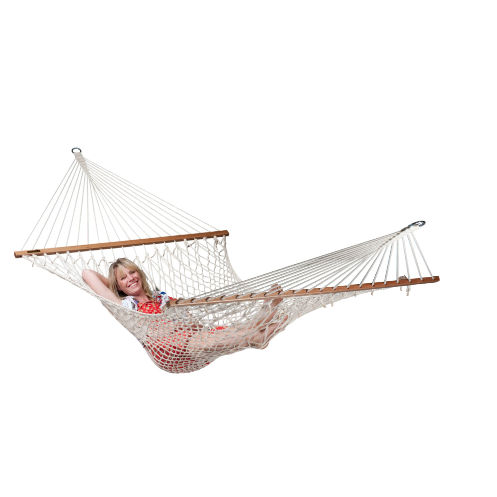 King Size White Cotton Rope Hammock