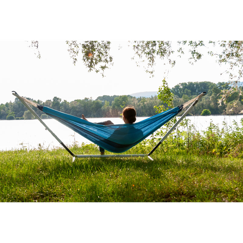 Single Lagoon Blue Hammock and Single Metal hammock stand