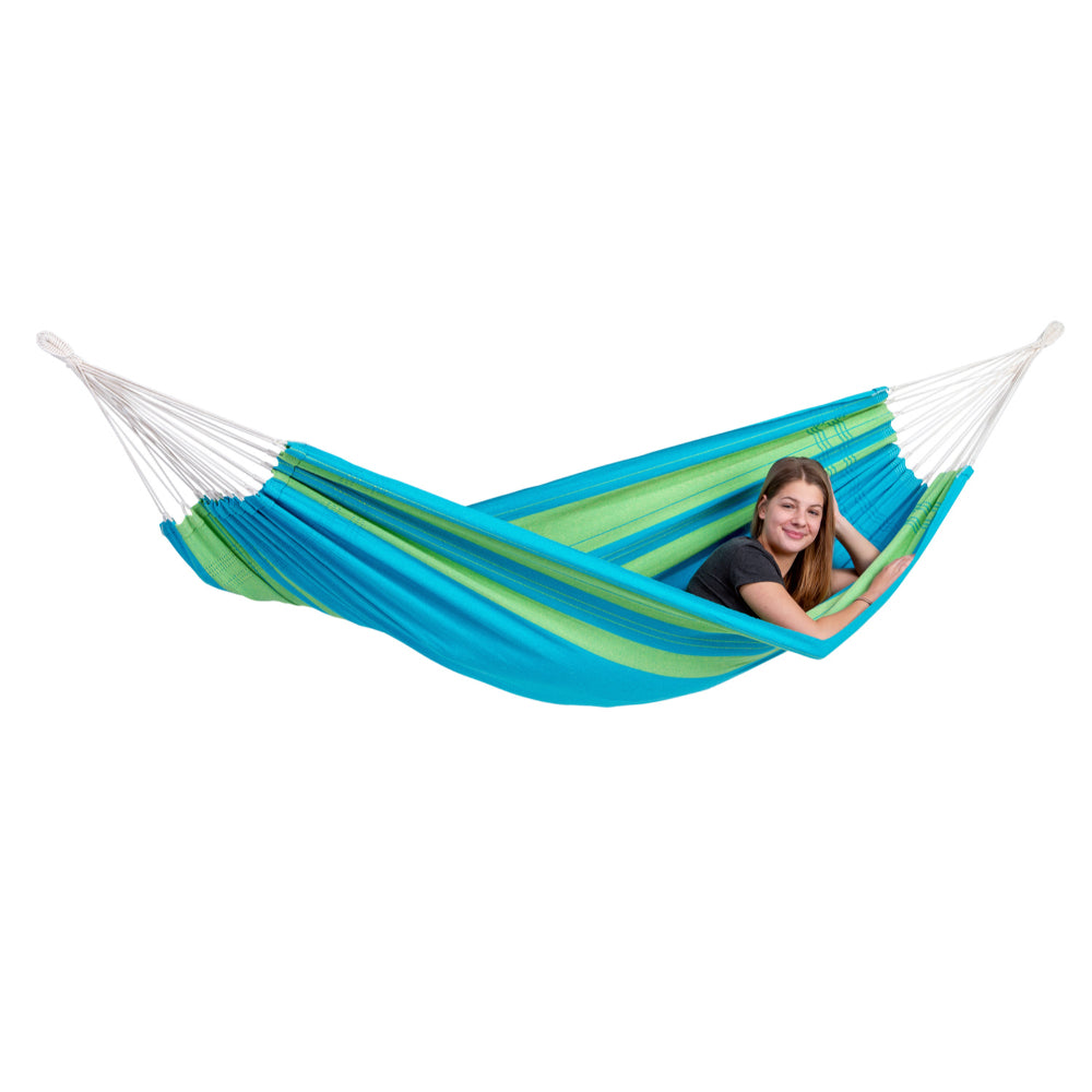Brazilian Single Cotton Hammock - Blue and Green