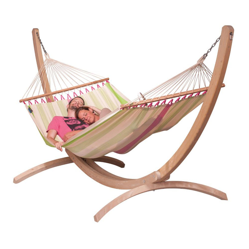 Double wooden hammock stand and hammock
