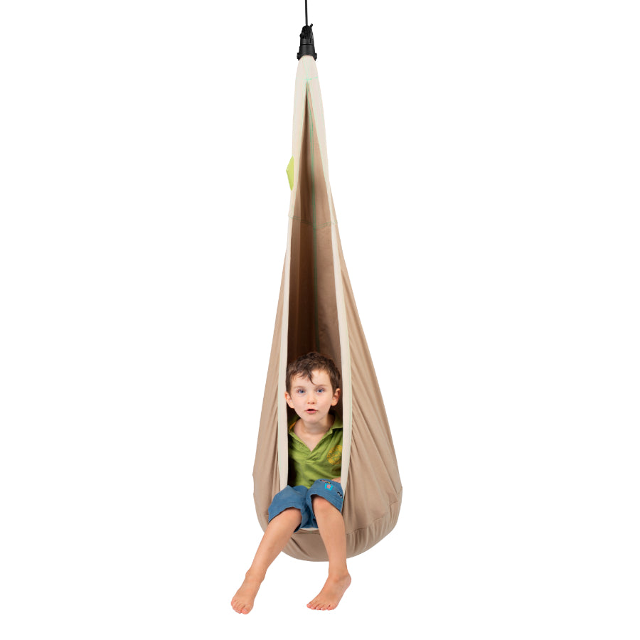 Child friendly hanging nest hammock pod
