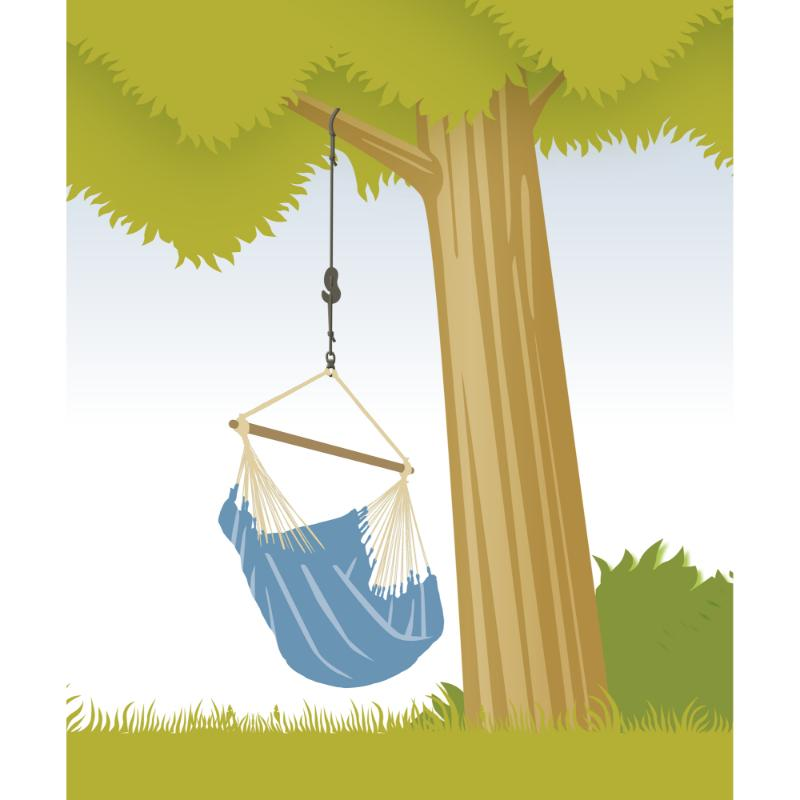 Hanging hammock from tree branch