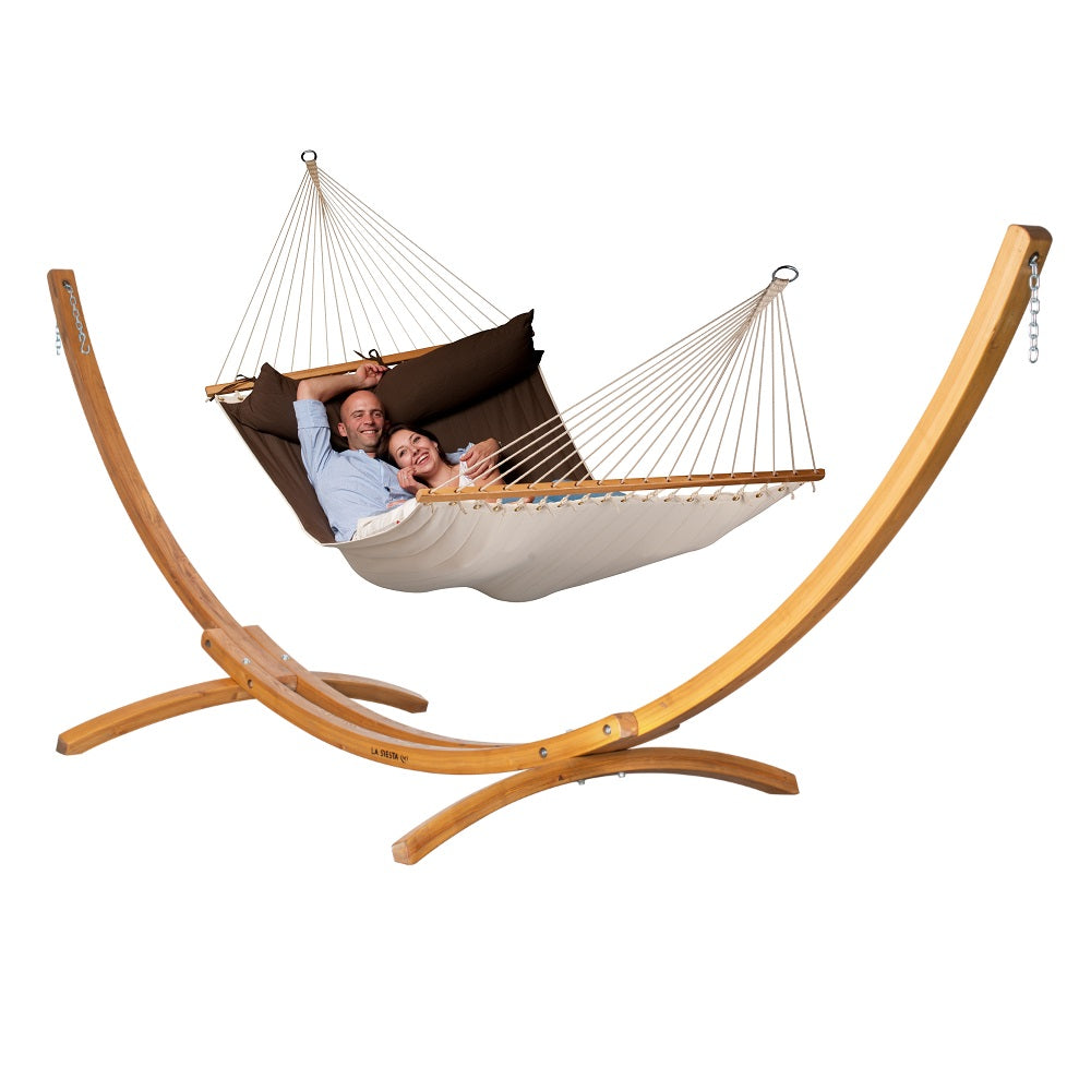 Curved Wooden Hammock Stand & King Spreader Bar Hammock Package