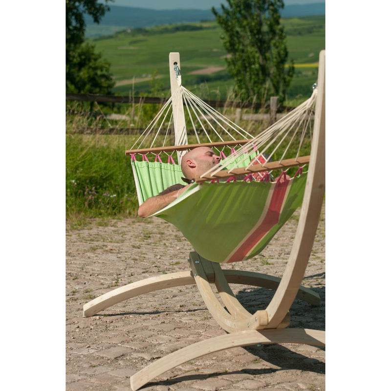 Single wooden bar hammock and wood stand