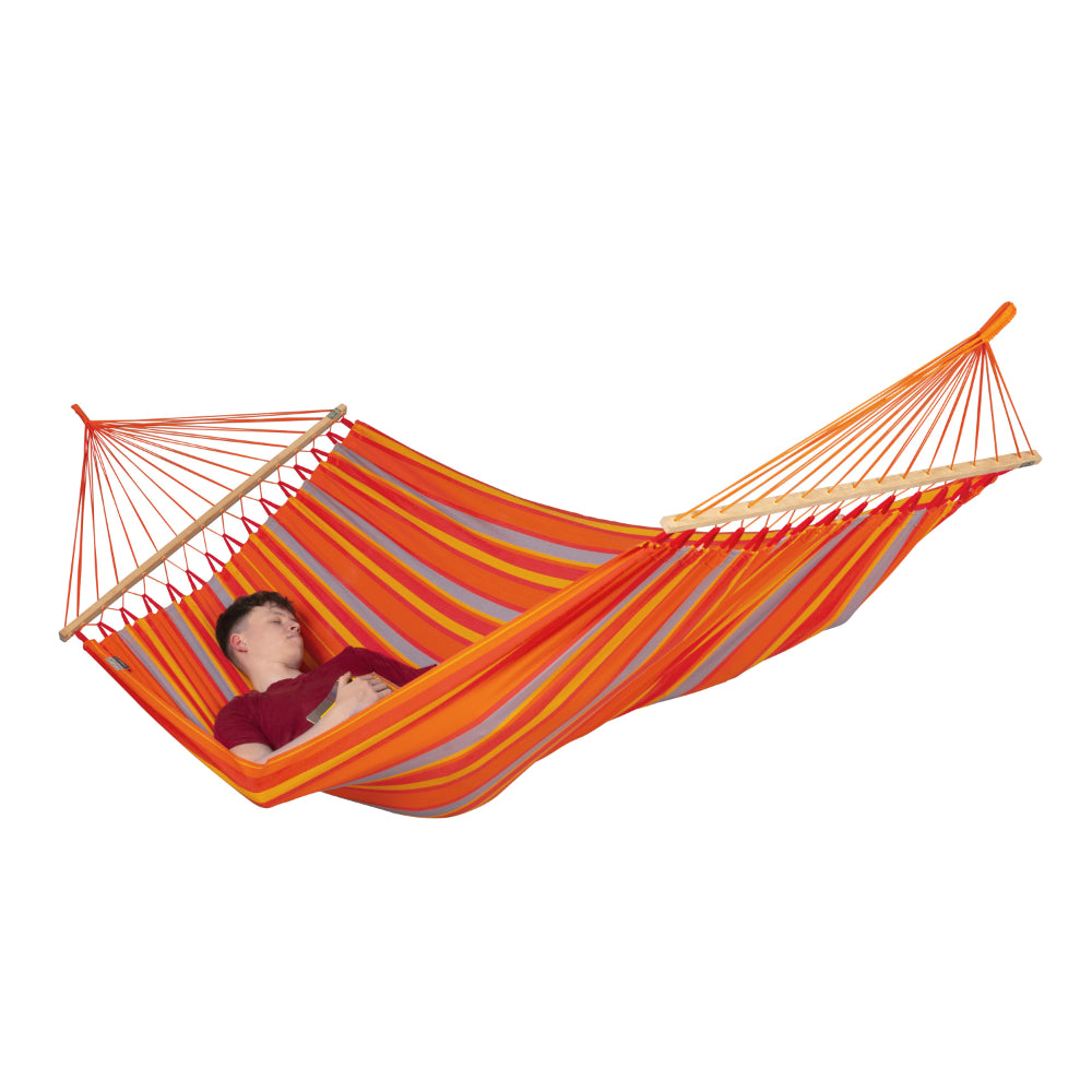 Spreader bar style hammock in bright orange colours