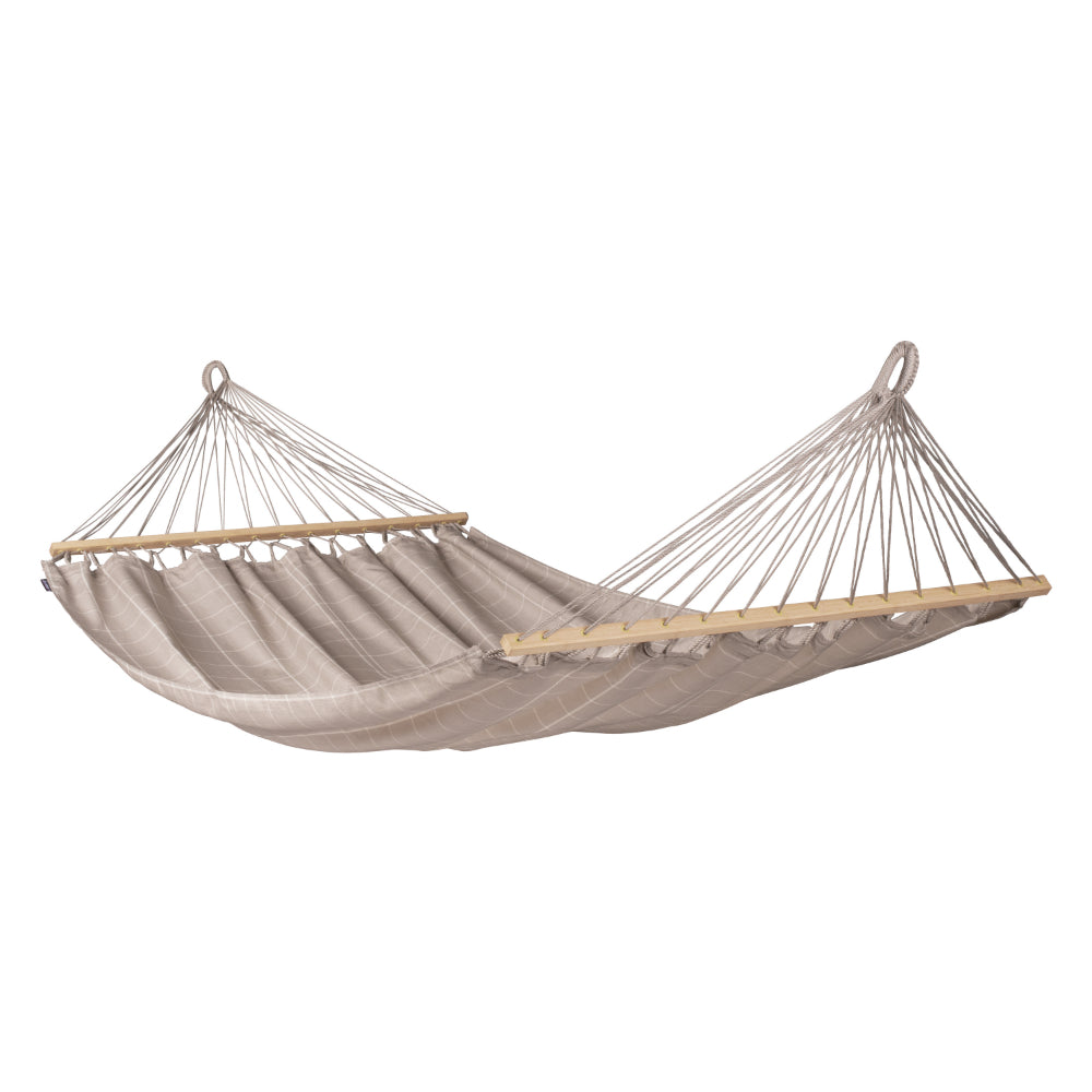 Double size spreader bar hammock in beige in white colour material