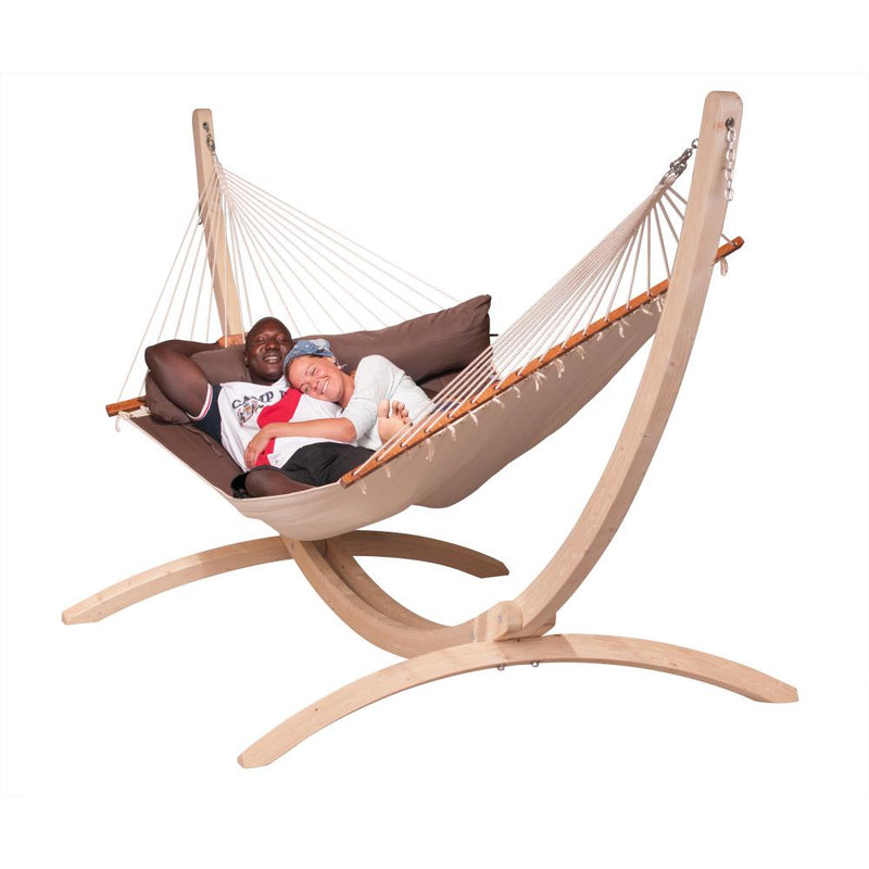 Two people in large hammock