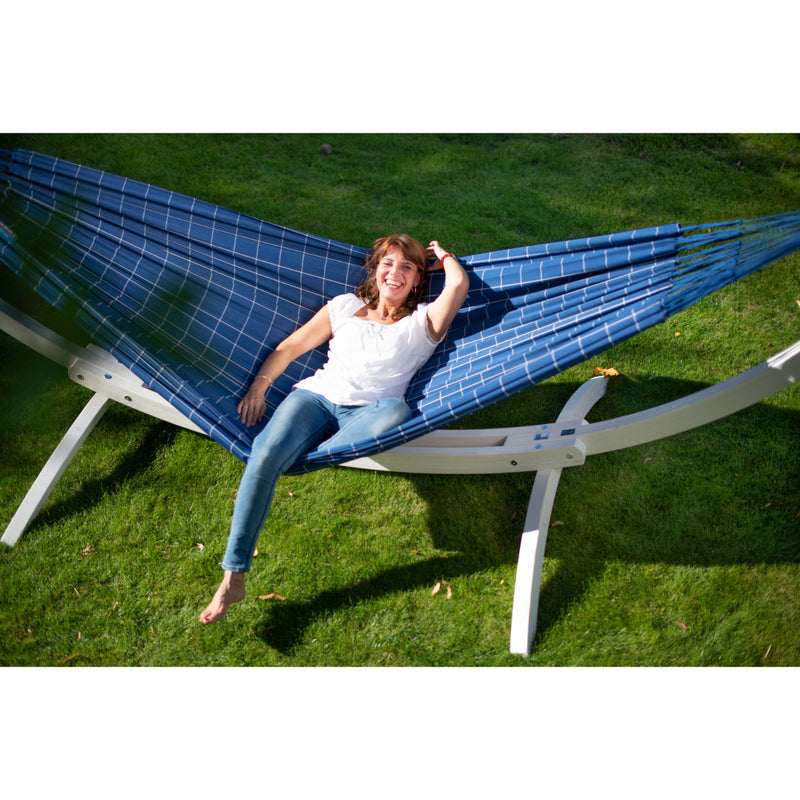 Hammock time with wooden stand