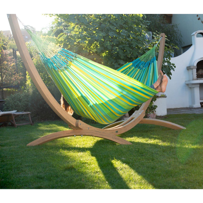 Wooden Arc Hammock Stand and Double Hammock