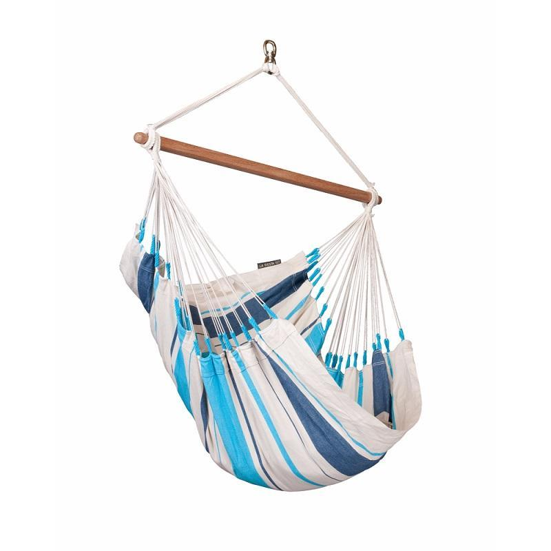 Aqua Single Blue and White Chair Hammock