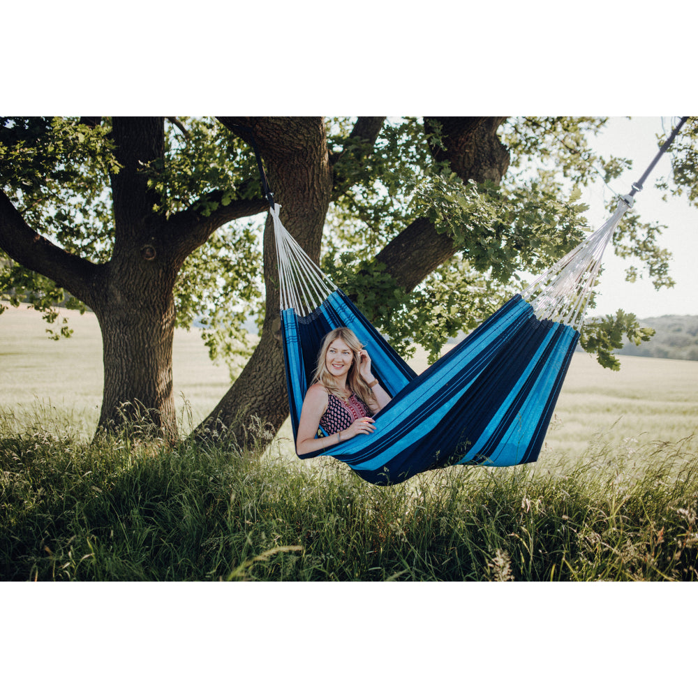 Brazilian Single Cotton Hammock - Blue and Blue