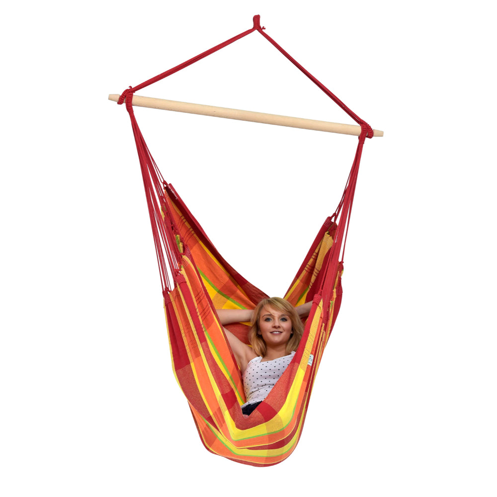 Brazilian chair hammock red and yellow