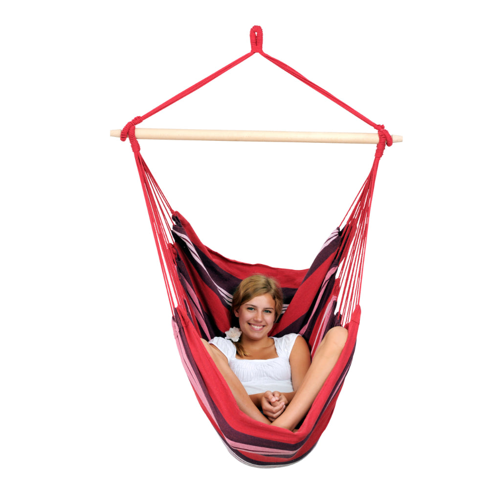 Hammock chair in red tones