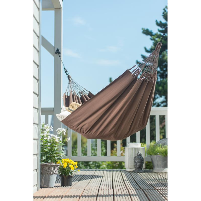 Hammock hanging on deck from posts