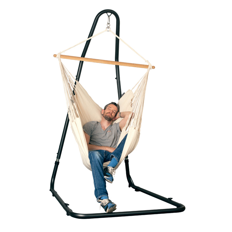 Chair Hammock Stand and Single Natural White Hammock Chair