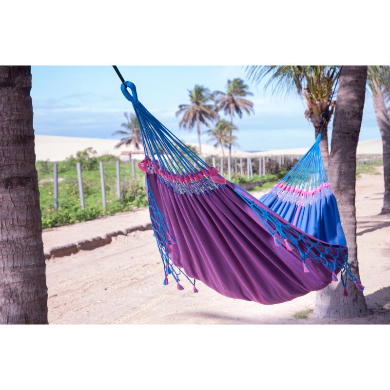 La Siesta Double Brazilian Hammock - Blue and Purple