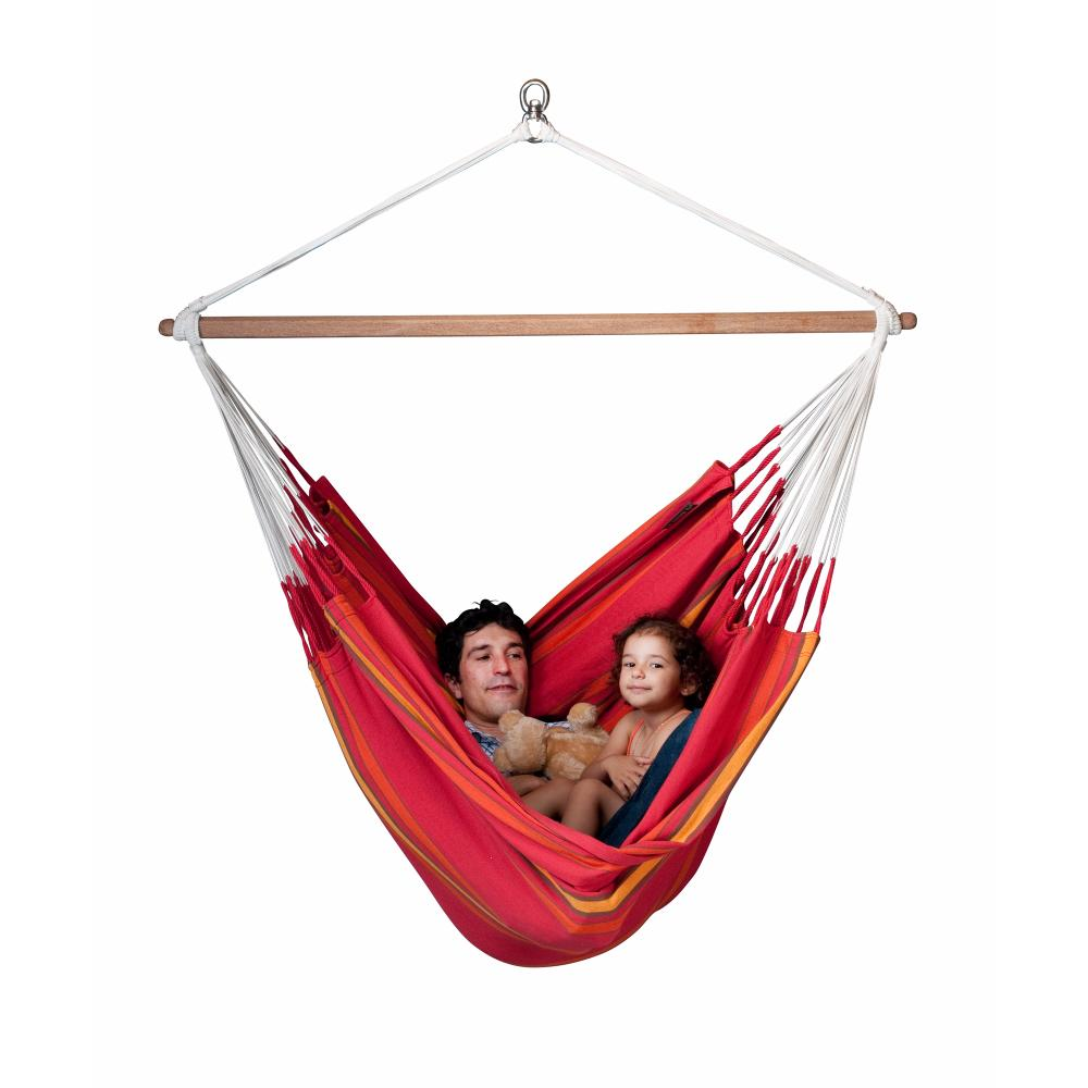 Red fabric hammock chair