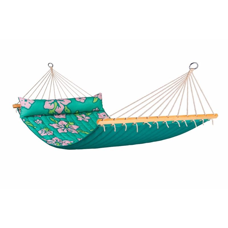 Palm Green and Flower Design Double Hammock