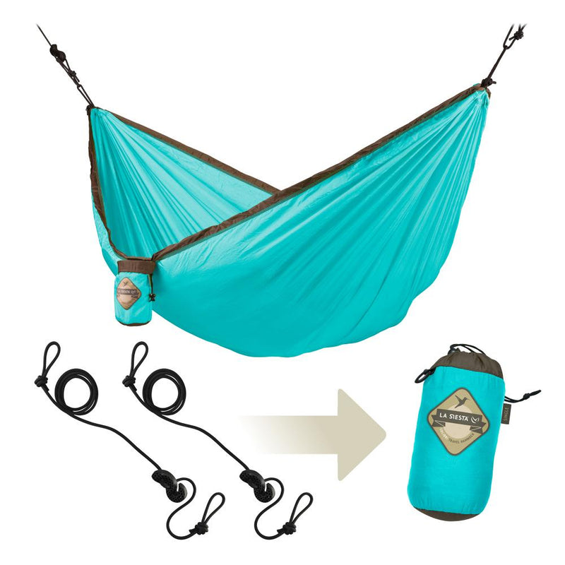 Travel hammock package with carry bar and hanging ropes