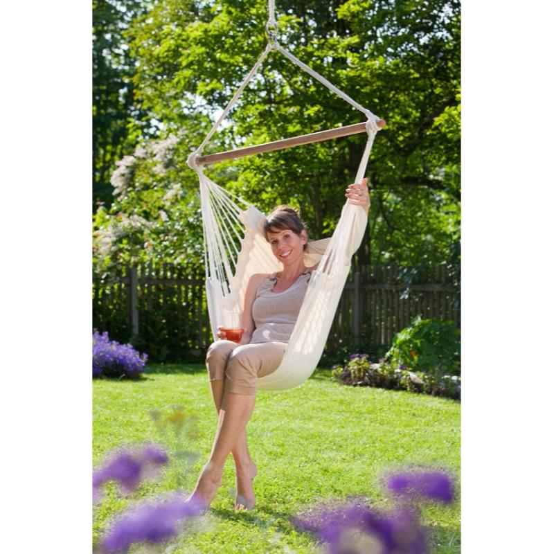 Garden cotton swing chair - white
