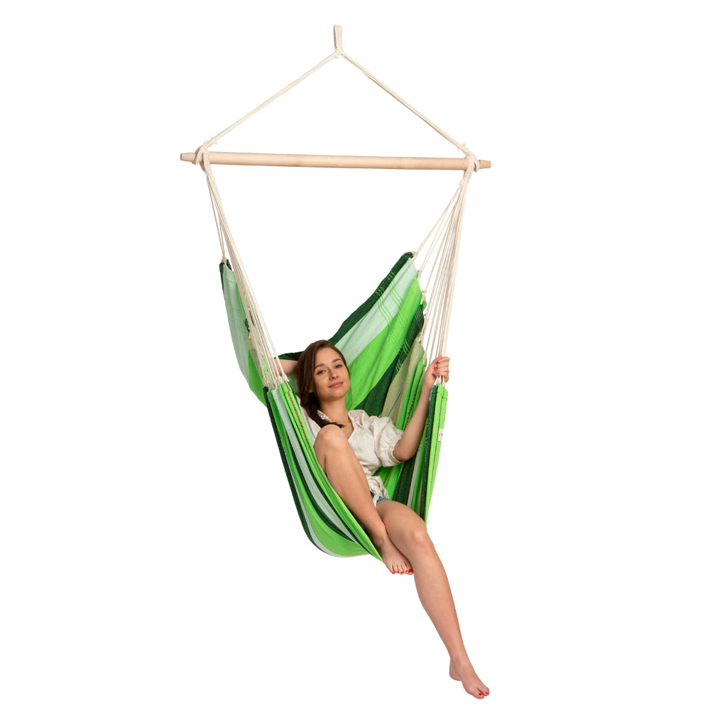 Green cotton king size chair hammock