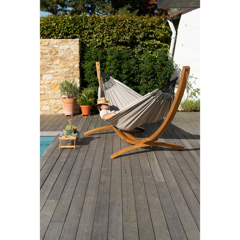 Wooden hammock stand for outside on deck