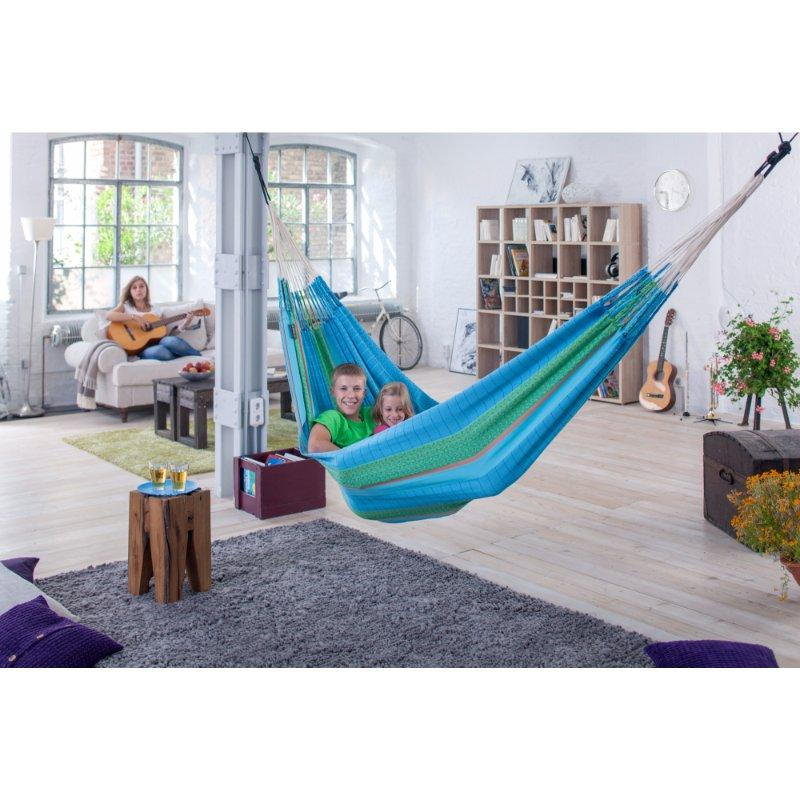 Indoor blue organic cotton hammock