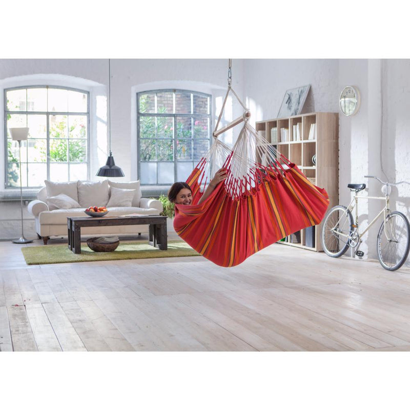 Indoor red cotton chair hammock