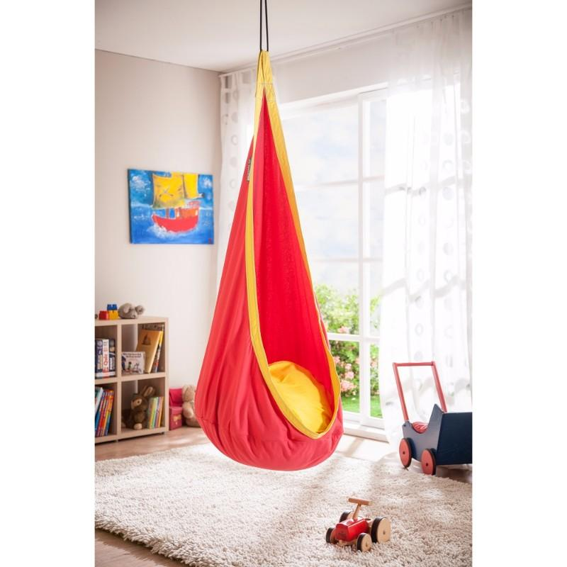 Red and yellow cotton hanging nest chair for children