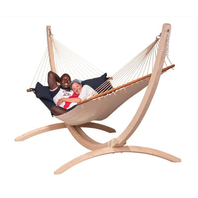 Curved wooden hammock stand and bar hammock