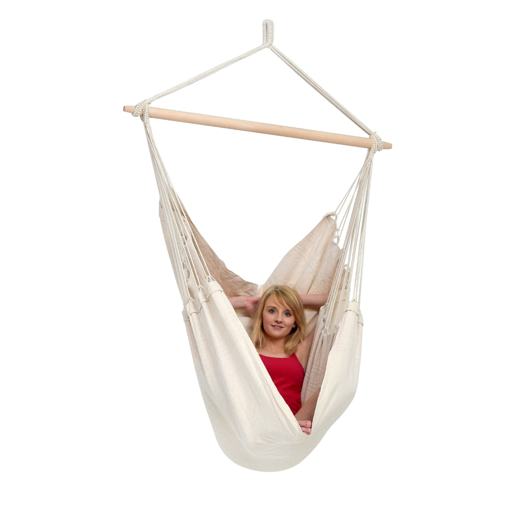 Large white cotton chair hammock