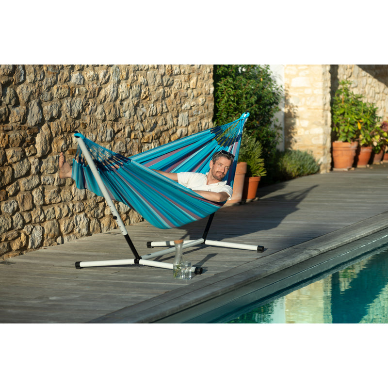 Hammock on stand by pool