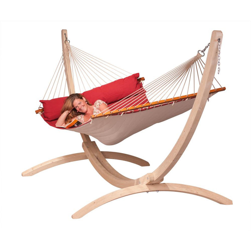 Wooden curved stand and king size bar hammock