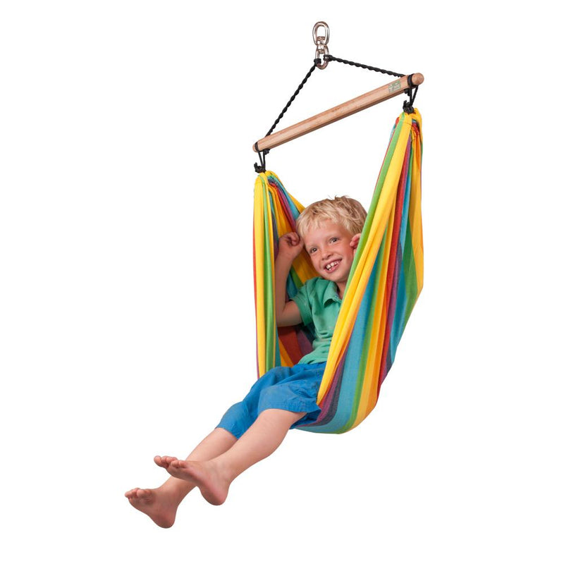 Rainbow coloured chair hammock for children