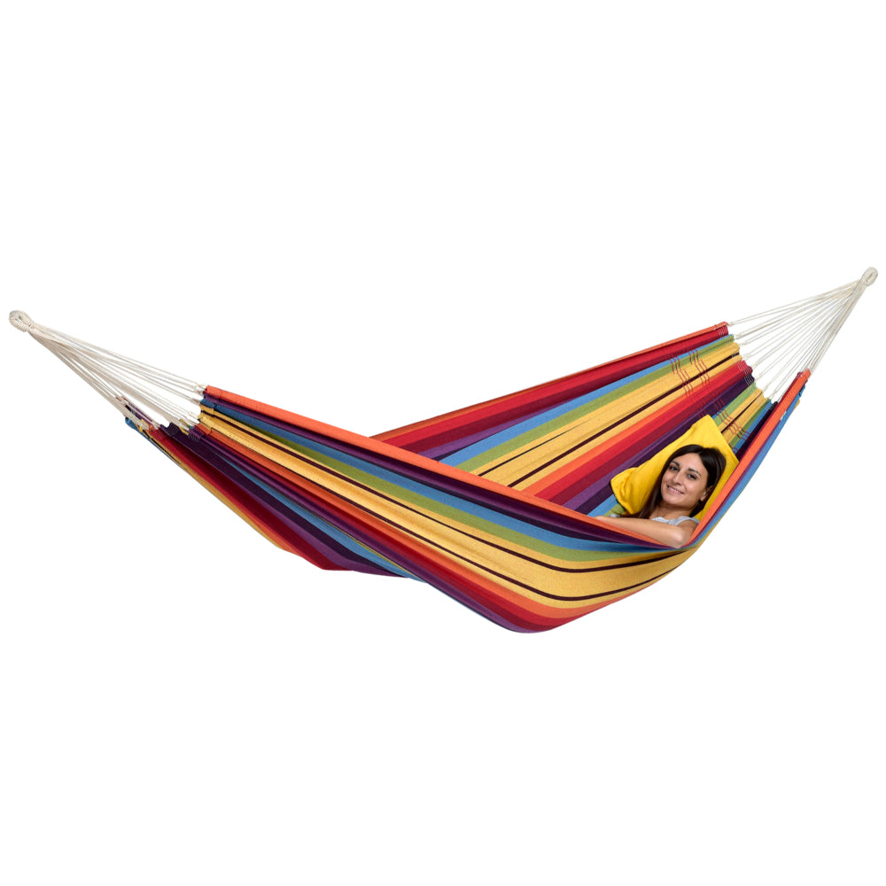Brazilian Cotton Double Hammock - Rainbow