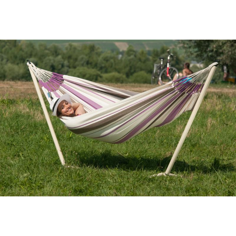 Single cotton hammock and small hammock stand